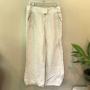 Armani Collezioni | High Rise Tan Linen Trousers 8